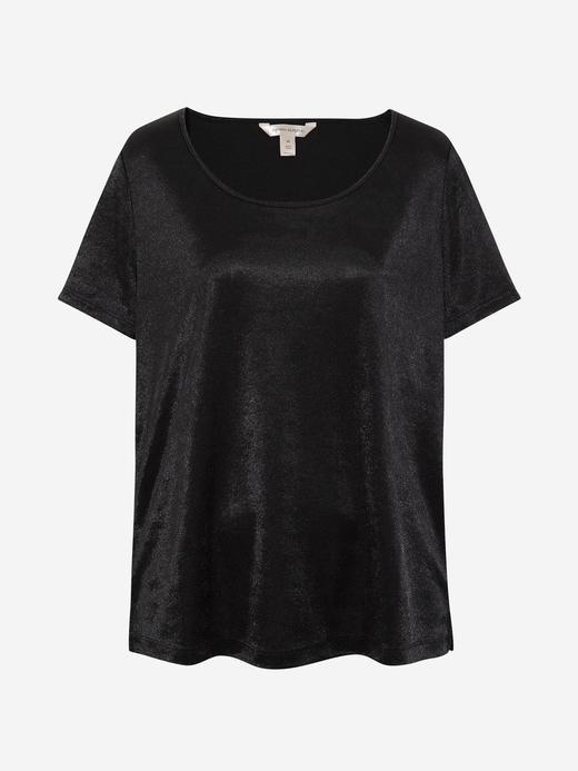 Kadın Siyah Saten Yuvarlak Yaka Bluz