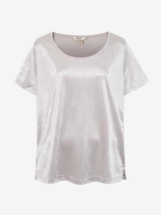 Kadın Beyaz Saten Yuvarlak Yaka Bluz