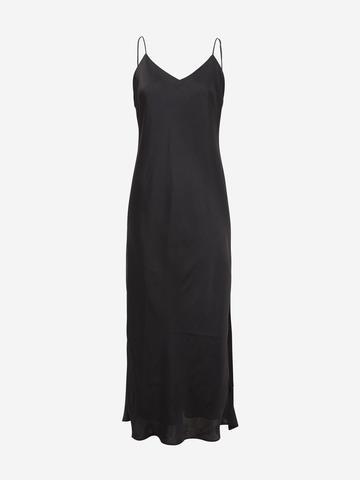 Kadın Siyah Askılı Saten Slip Elbise