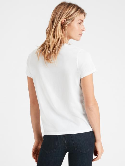 Kadın Beyaz SUPIMA® Yuvarlak Yaka T-Shirt