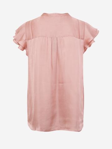 Kadın Pembe Yaka Detaylı Saten Bluz