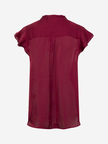 Kadın Kırmızı Yaka Detaylı Saten Bluz