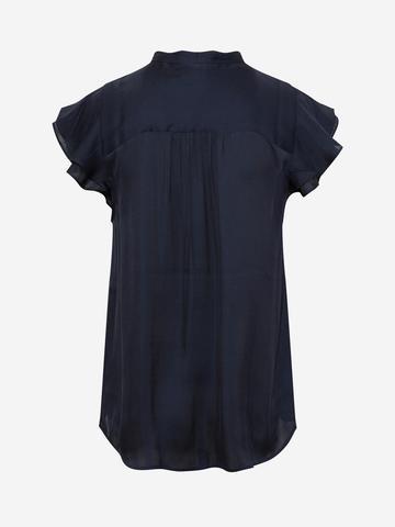 Kadın Lacivert Yaka Detaylı Saten Bluz