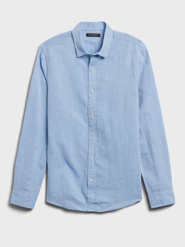 Erkek Mavi Untucked Slim-Fit Gömlek
