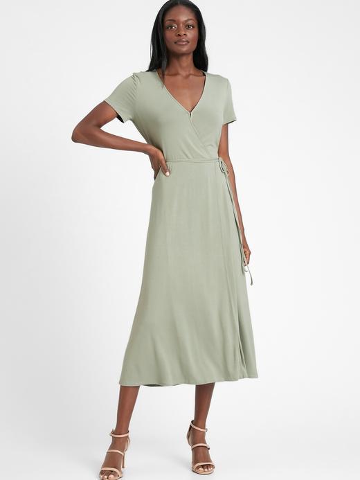 Kadın Yeşil Kısa Kollu Anvelop Elbise