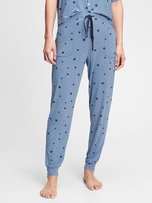 Kadın Mavi Modal Karışımlı Jogger Pijama Altı