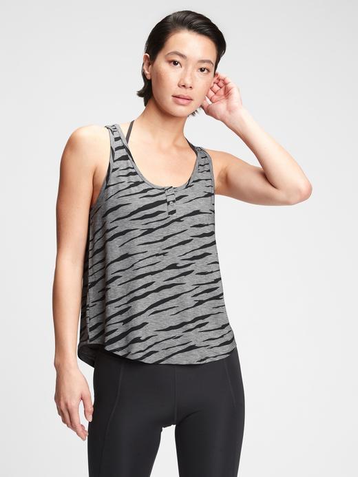 Kadın Siyah GapFit Henley Bluz