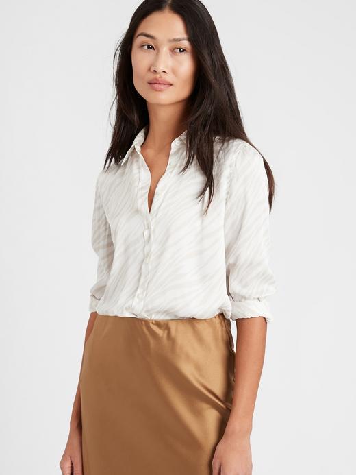 Kadın Beyaz Dillon Classic-Fit Saten Gömlek
