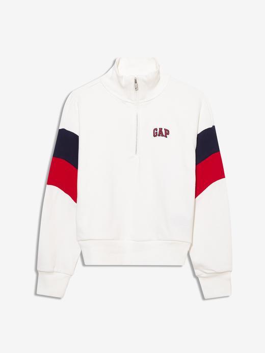 Kız Çocuk Beyaz Gap Logo Yarım Fermuarlı Sweatshirt