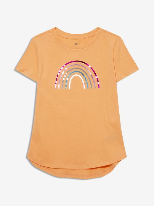 Kız Çocuk Turuncu Pullu Grafik Kısa Kollu T-Shirt