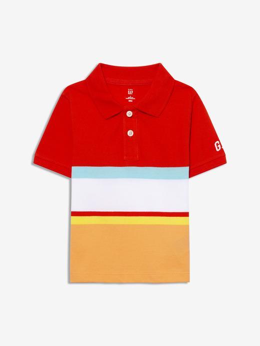 Erkek Bebek Kırmızı Renk Bloklu Polo Yaka T-Shirt