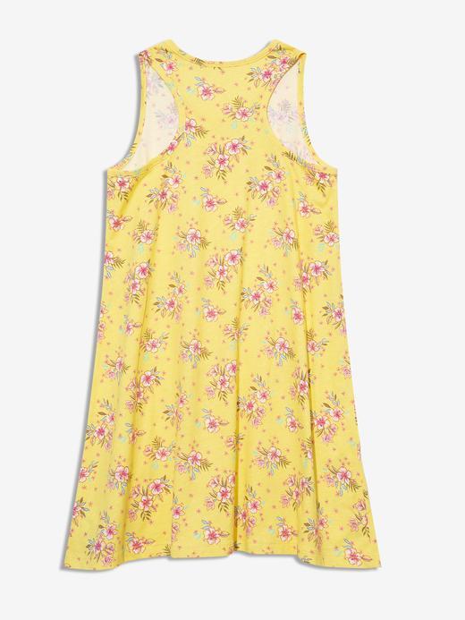Kız Çocuk Sarı Desenli Askılı Elbise