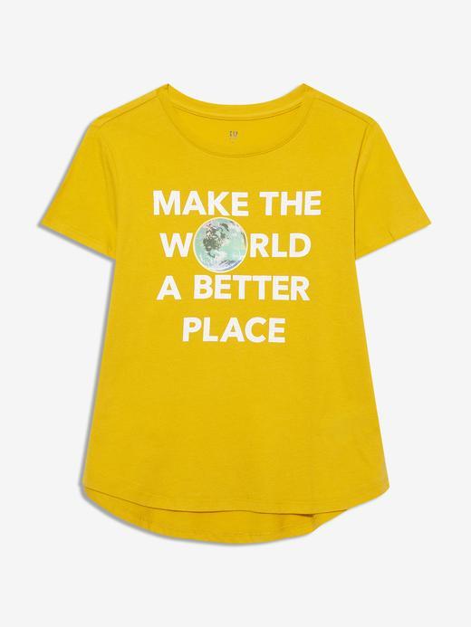 Kız Çocuk Sarı Kısa Kollu Grafik T-Shirt