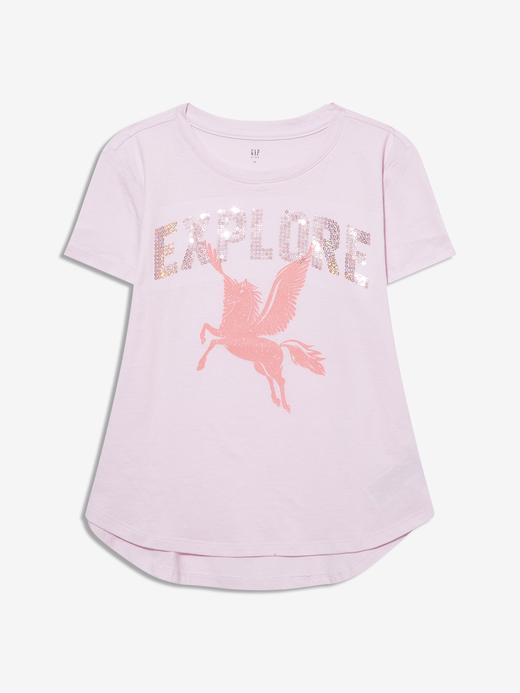 Kız Çocuk Pembe Kısa Kollu Grafik T-Shirt