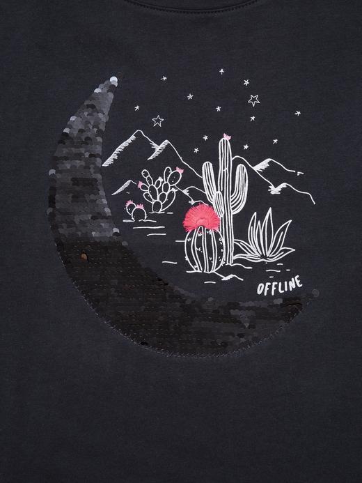 Kız Çocuk Lacivert Değişen Pullu Kısa Kollu T-Shirt