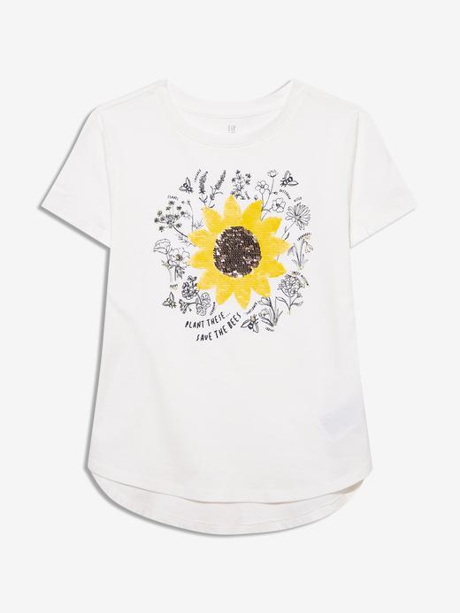Kız Çocuk Beyaz Değişen Pullu Kısa Kollu T-Shirt