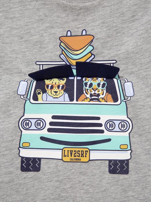 Erkek Bebek Gri Kısa Kollu Grafik T-Shirt