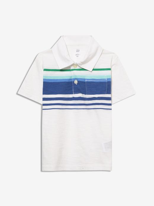 Erkek Bebek Beyaz Çizgili Polo Yaka T-Shirt