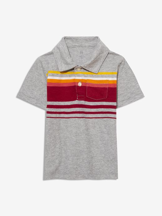 Erkek Bebek Gri Çizgili Polo Yaka T-Shirt