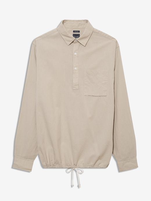 Erkek Bej Keten Karışımlı Popover Gömlek