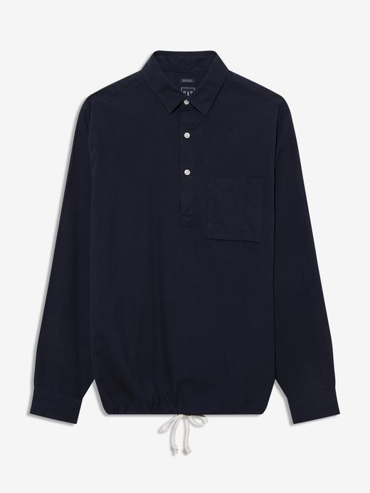Erkek Lacivert Keten Karışımlı Popover Gömlek