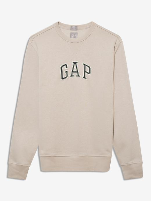 Erkek Bej Gap Logo Yuvarlak Yaka Sweatshirt