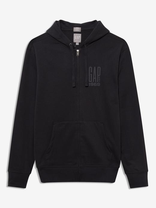 Erkek Siyah Gap Logo Kapüşonlu Sweatshirt