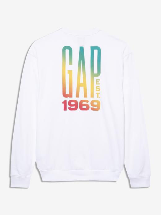 Erkek Beyaz Gap Logo Yuvarlak Yaka Sweatshirt