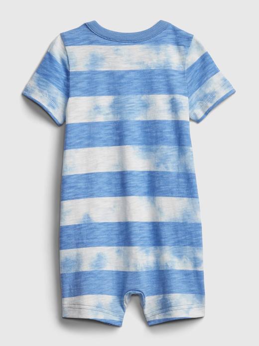 Erkek Bebek Mavi Tie-Dye Kısa Kollu Tulum