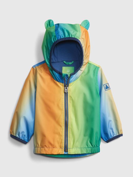 Erkek Bebek Çok Renkli Kapüşon Detaylı Yağmurluk