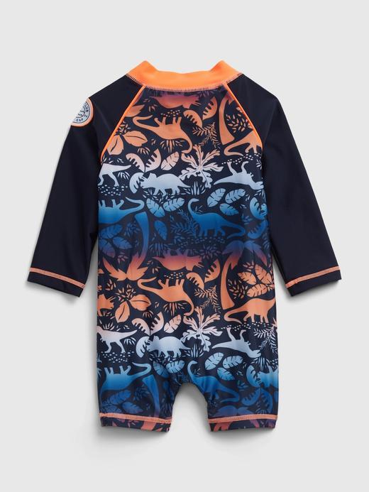 Erkek Bebek Lacivert Dinozor Desenli Mayo Takımı