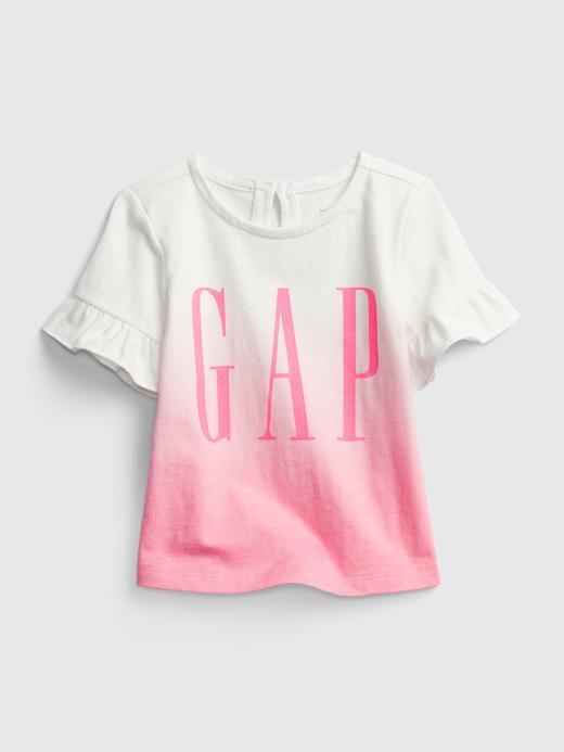 Kız Bebek Pembe Fırfır Detaylı Gap Logo T-Shirt