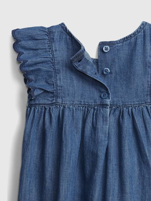 Kız Bebek Lacivert Organik Pamuklu Denim Elbise