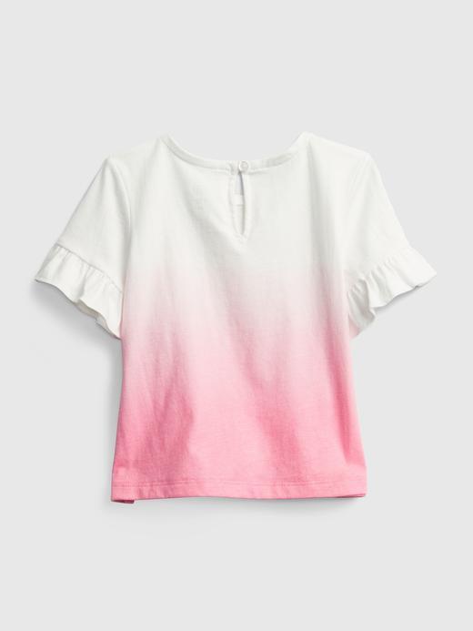 Kız Bebek Mavi Fırfır Detaylı Gap Logo T-Shirt