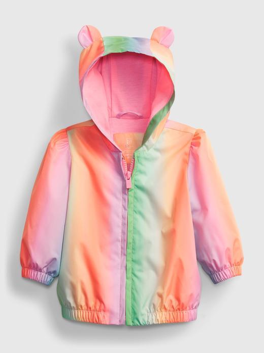 Kız Bebek Çok Renkli Kapüşonlu Renkli Ceket