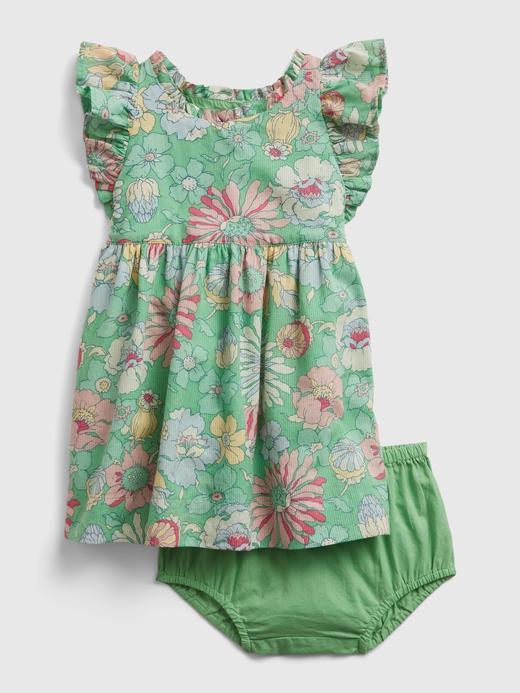 Kız Bebek Yeşil Çiçek Desenli Elbise