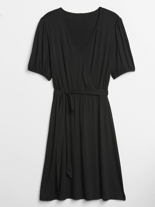 Kadın Siyah Kısa Kollu Anvelop Elbise