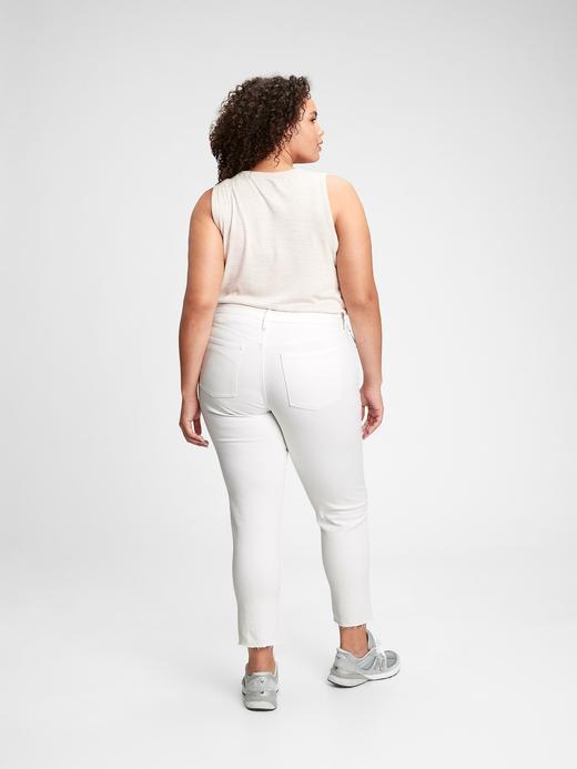 Kadın Beyaz Mid Rise Girlfriend Jean Pantolon