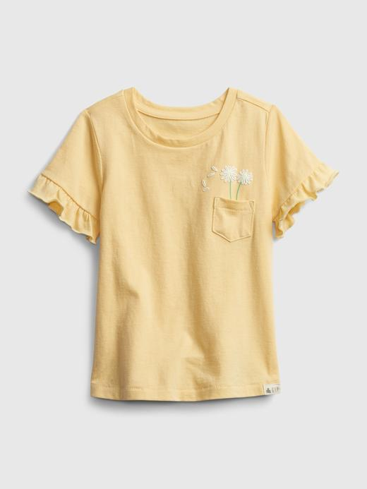Kız Bebek Sarı Organik Pamuklu Fırfır Detaylı T-Shirt