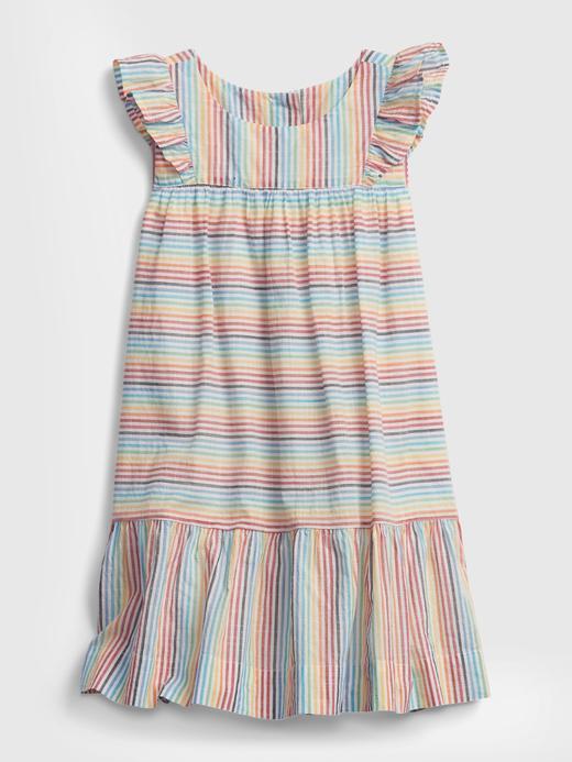 Kız Bebek Çok renkli Çizgili Fırfır Detaylı Elbise