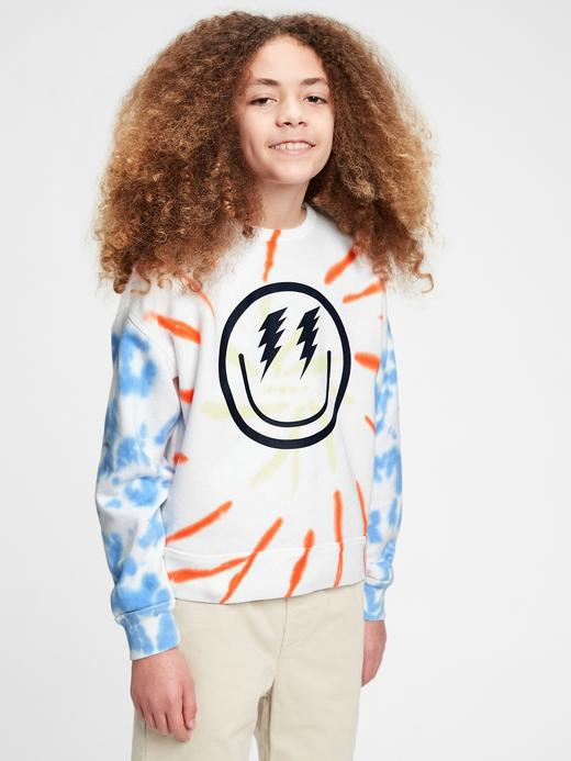 Erkek Çocuk Beyaz Tie-Dye Yuvarlak Yaka Sweatshirt