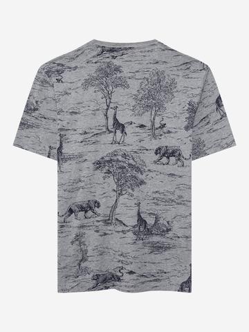 Erkek Gri Yuvarlak Yaka Grafik T-Shirt
