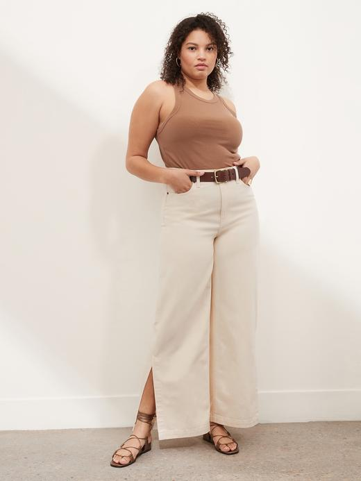 Kadın Bej High-Rise Wide-Leg Jean Pantolon