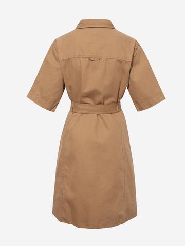 Kadın Kahverengi Pamuk Keten Karışımlı Elbise