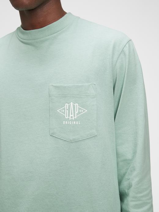 Erkek Yeşil Gap Logo Uzun Kollu T-Shirt