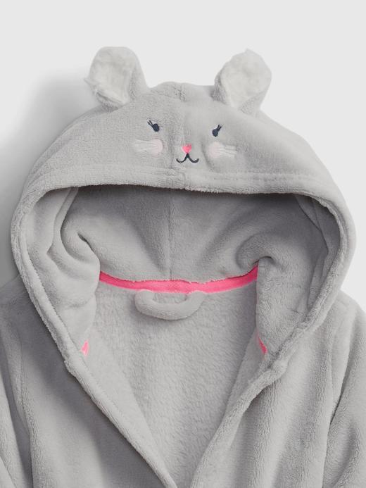 Kız Bebek Gri Tavşan Şapkalı Bornoz