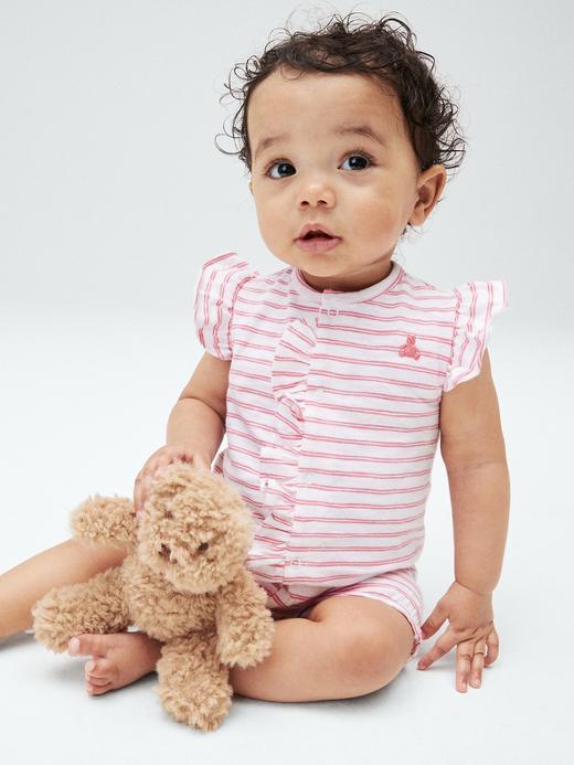 Erkek Bebek Beyaz Fırfır Detaylı Çizgili Tulum