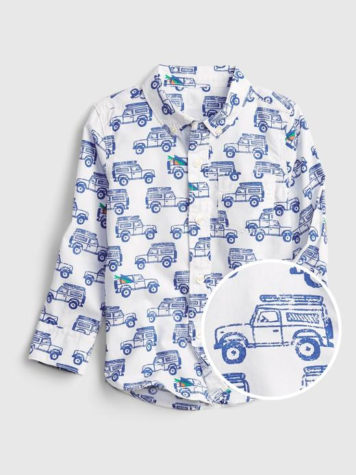 Erkek Bebek Beyaz Araba Desenli Gömlek