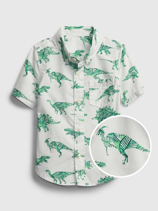 Erkek Bebek Beyaz Dinozor Desenli Gömlek