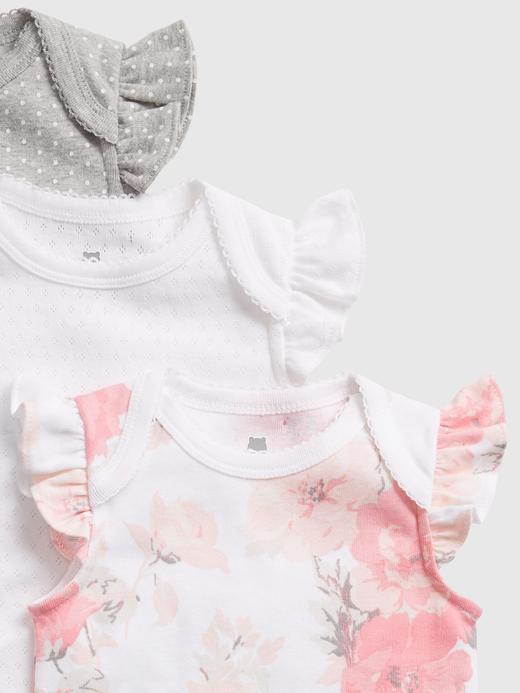 Erkek Bebek Beyaz 3'lü Fırfır Detaylı Body Seti